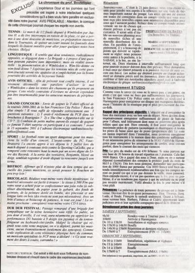 Major Deluxe 2001 journal verso